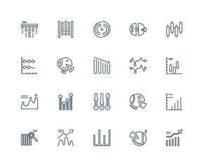 Set Of 20 outline icons such as chart, Pie Bar Analytics, linear