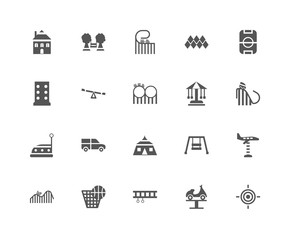 20 linear icons related to Target, Boat, Ride, Punch, DUNK, Play