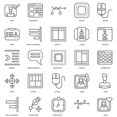 Simple Set of 25 Vector Line Icon. Contains such Icons as User,