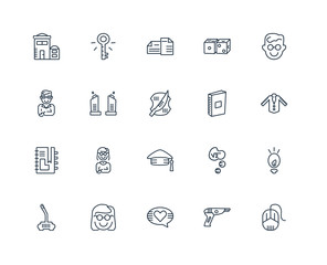 Set Of 20 outline icons such as Mouse, Blaster, In love, Nerd, J