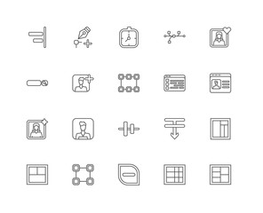 Simple Set of 20 Vector Line Icon. Contains such Icons as Layout