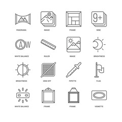 Simple Set of 16 Vector Line Icon. Contains such Icons as Vignet