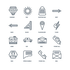 Set Of 16 outline icons such as Mail, Phone call, Speech bubble,