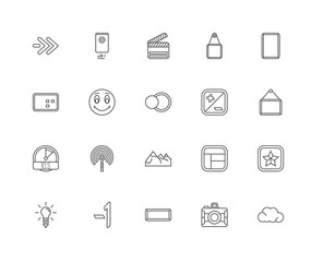 Simple Set of 20 Vector Line Icon. Contains such Icons as Cloud,