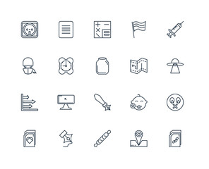 Set Of 20 outline icons such as File, Placeholder, Rolling pin,