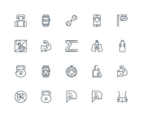 Set Of 20 outline icons such as Body, Bio, Salt, Kettlebell, Pil