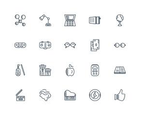 Set Of 20 outline icons such as Hand, Superhero, Piano, Brain, C