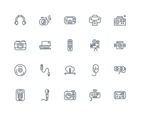 Set Of 20 outline icons such as Little Gameboy, Music Player Big