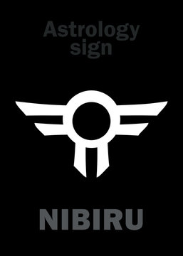 Astrology Alphabet: Orphan planet NIBIRU, The Rogue planet of Anunnaki (Aliens, the Ancient astronauts). Hieroglyphics character sign (single symbol).