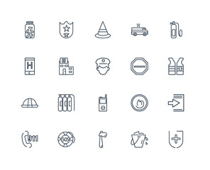 Set Of 20 outline icons such as Medical, Water bucket, Axe, Sos,