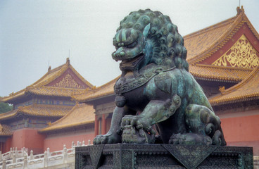 Chinese Guardian Lion Statue at the Forbidden City, Beijing, China