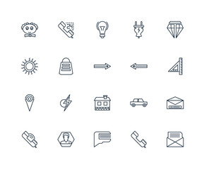 Set Of 20 outline icons such as Mail, Phone call, Speech bubble,