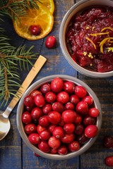 Fresh Cranberries with sauce on side / Xmas thanksgiving background