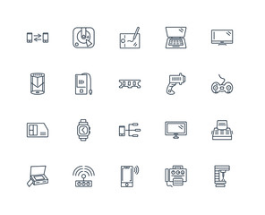 Set Of 20 outline icons such as Laser Machine, Gamepad with Cabl