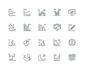 Set Of 20 outline icons such as Bar chart, Analytics, linear ico