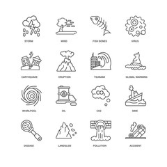 Simple Set of 16 Vector Line Icon. Contains such Icons as Accide