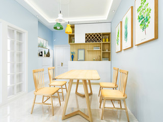 Modern dining room, dining room, solid wood dining table, chairs, etc.