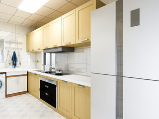 Modern residential kitchen design, solid wood custom cabinets and various appliances
