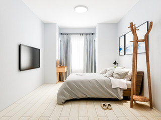 Modern and elegant bedroom design with solid wood bed, wardrobe, bedside table and TV