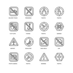 Simple Set of 16 Vector Line Icon. Contains such Icons as Traffi