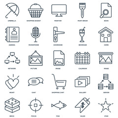Set Of 25 Universal Editable Icons. Includes Elements Such As St