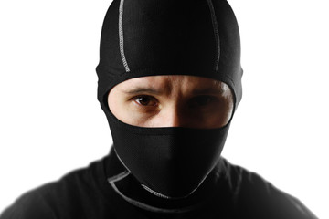 The man in the black Balaclava. Close up. Isolated on white background