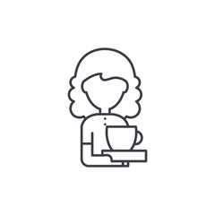 Coffee lover line icon concept. Coffee lover vector linear illustration, sign, symbol
