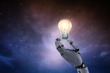 robot with lightbulb