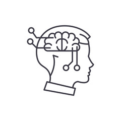 Computer thinking line icon concept. Computer thinking vector linear illustration, sign, symbol