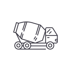 Concrete truck line icon concept. Concrete truck vector linear illustration, sign, symbol