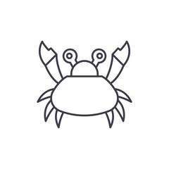 Cute crab line icon concept. Cute crab vector linear illustration, sign, symbol
