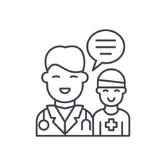 Doctor's help to the patient line icon concept. Doctor's help to the patient vector linear illustration, sign, symbol