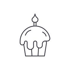 Easter cake line icon concept. Easter cake vector linear illustration, sign, symbol