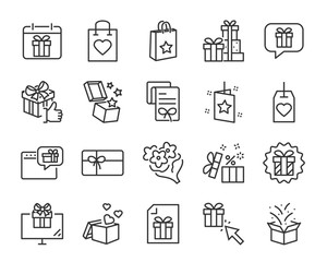 christmas and happy new year gift icons