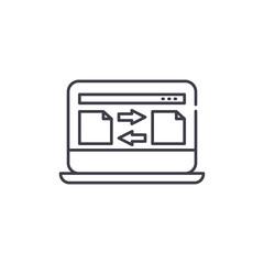 File transfer line icon concept. File transfer vector linear illustration, sign, symbol