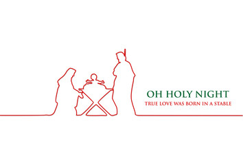 Line drawing, Birth of Christ, Silhouette of Mary, Joseph and Jesus, Vector