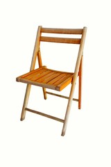 A wooden folding chair on a white background.