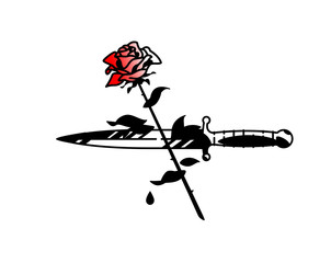 Tattoo of a dagger and roses. Vintage tattoo in the style of the American old school. Image is isolated on white background. Contour drawing. Fashionable tattoo for the mafia. Love and crime.