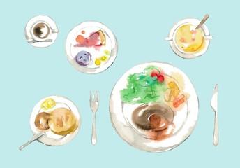 真上から見た料理、デザート付、ブルー背景