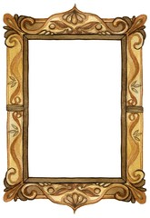 Watercolor rectangular wood carved picture frame with decoration, vertical orientation - hand painted illustration