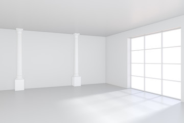 Empty white room with large stained glass windows. 3D rendering.