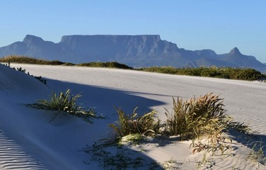 Landscape with sand dunes and Table Mountain