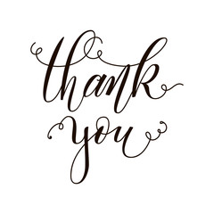 Thank you postcard. Hand drawn greeting card. Ink illustration. Modern brush calligraphy. Isolated on white background.