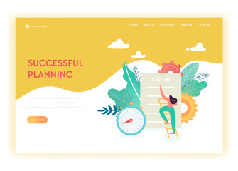 Business Planning and Strategy Landing Page Template. Busibess Woman with Checklist for Web Page or Website. Scheduling, Time Management. Easy Edit and Customize. Vector illustration
