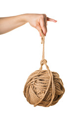 in a female hand tangle of rope