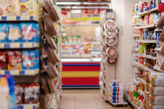 Supermarket blur background with bokeh, Miscellaneous Product shelf.