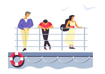 Passengers on ferry or liner, people traveling by sea