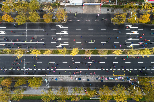 aerial view of city marathon