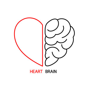 Heart and Brain concept, conflict between emotions and rational thinking, teamwork and balance between soul and intelligence. Outline icon design, vector illustration.