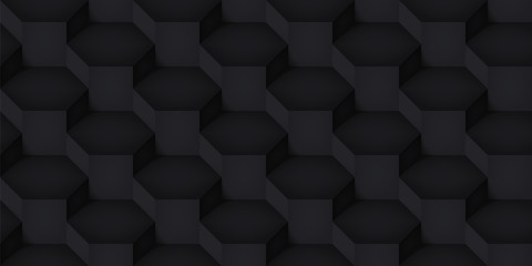 Volume realistic vector cubes texture, dark geometric seamless pattern, design black illusion background for you projects
